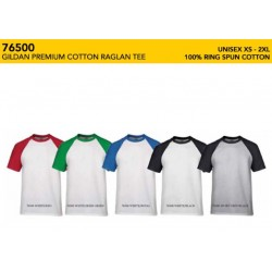 76500 Premium Cotton Adult Raglan - Short Sleeve